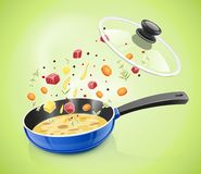 Blue pan with lid. Kitchen tableware. Cooking food. Stock Photo