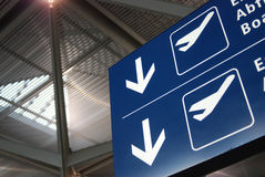 Blue panel airport Stock Images