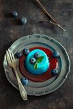Blue panna cotta vintage stock images