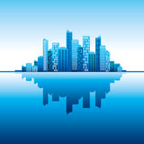 Blue panorama city   background Royalty Free Stock Images