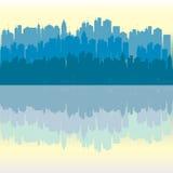 Blue panorama urban city background Royalty Free Stock Photo