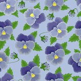 Blue pansies seamless background Stock Photo