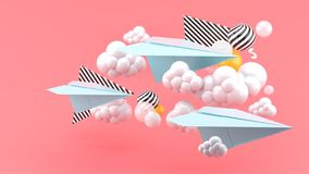 Blue paper airplane amid clouds on pink background.-. Blue paper airplane amid clouds on pink background and colorful balls.-3d render stock illustration