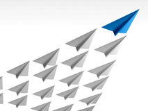 Blue paper airplane as a leader. 3d rendering Royalty Free Stock Photo