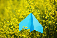 Blue Paper Airplane on yellow background. Stock Photos