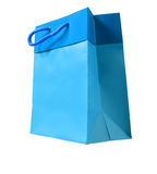 Blue paper bag. On white background Royalty Free Stock Images
