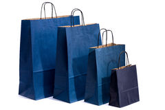 Blue paper bag with handles for shopping Stock Images