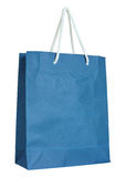 Blue paper bag isolated on white Stock Images