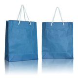 Blue paper bag on white background Royalty Free Stock Image