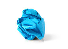 Blue Paper Ball Isolated on White Background. Stock Photo