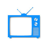 Blue paper banner in form of tv Stock Image