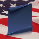 Blue paper banner on top of American flag. Blank, blue, curved paper banner on top of American flag. Poster, brochure or flyer template. Vector illustration Stock Photos
