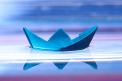 Blue paper boat Royalty Free Stock Images