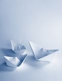 Blue Paper boat Royalty Free Stock Photo