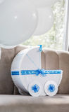 Blue paper carriage decor Stock Photography
