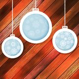 Blue paper christmas balls on a wood. EPS 10 Royalty Free Stock Photo