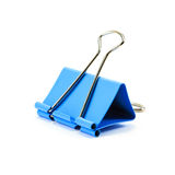 Blue paper clip on white background Stock Photos