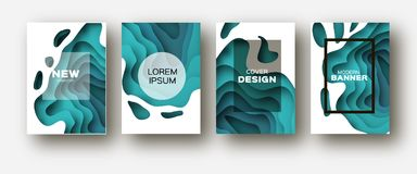 Blue Paper Cut Wave Shapes. Layered curve Origami design for business presentations, flyers, posters. Set of 4 vertical. Banners. 3D abstract map carving. Text stock illustration