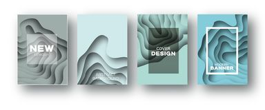 Blue Paper Cut Wave Shapes. Layered curve Origami design for business presentations, flyers, posters. Set of 4 vertical. Banners. 3D abstract map carving. Text vector illustration