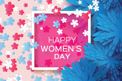 Blue Paper flower. Sakura blossom. Women`s Day. 8 March. Square frame. Blue Paper Cut flower with Sakura Blossom. 8 March. Women`s Day Greeting card. Origami vector illustration