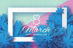 Blue Paper flower. Women`s Day. 8 March. Rectangle frame Stock Photography