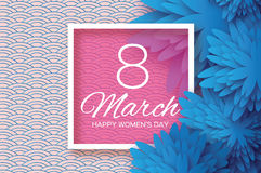 Blue Paper flower. Women`s Day. 8 March. Square frame Stock Photography