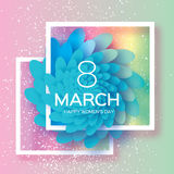 Blue Paper flower. Women`s Day. 8 March. Square frame Royalty Free Stock Photo