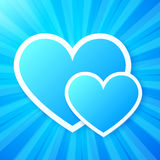 Blue paper hearts on shining vector background Stock Photo
