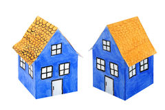 Blue paper house Royalty Free Stock Images