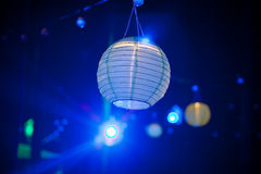 Blue paper lantern outdoor party Royalty Free Stock Photo