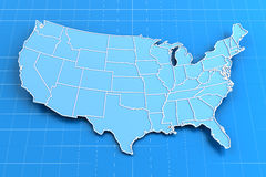 Blue paper map of USA with state borders Royalty Free Stock Photos