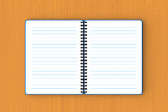 Blue paper notebook spread out on plywood Royalty Free Stock Photos