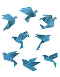 Blue paper pigeons and doves. In origami style isolated on white background for peace concept design Stock Photo
