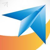 Blue paper plane Stock Image
