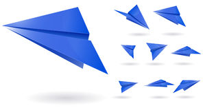 Blue paper planes Stock Images