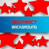 Blue paper rectangle banner on abstract stars background with drop shadows Royalty Free Stock Image
