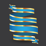 Blue paper ribbon with on the grey background Royalty Free Stock Photo
