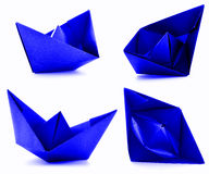 Blue paper ship photoset, origami collection isolated on white background Stock Photography