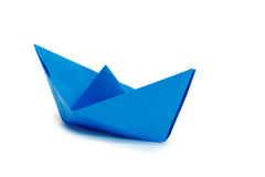 Blue paper ship Royalty Free Stock Photography