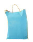 Blue paper shopping bag isolated Royalty Free Stock Photography