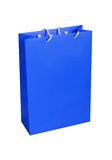 Blue paper shopping bag isolated on white Royalty Free Stock Images