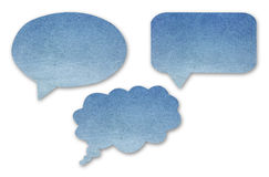 Blue paper speech bubbles set on isolated white Stock Photos
