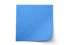 Blue paper stick note on white background Royalty Free Stock Images