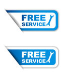 Blue  paper sticker free service two variant Royalty Free Stock Photo