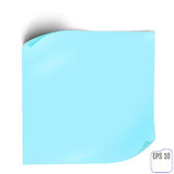 Blue Paper sticker with shadow. Blank web banner or curl label o. N white background. Vector white post note for advertising design Royalty Free Stock Photo