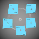 Blue paper stickers with 5S method template on dark. Illustration infographic template on dark background with five blue paper stickers which create motif of 5S Royalty Free Illustration