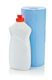Blue paper towel and cleaner Stock Photos