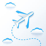 Blue paper vector flying plane in clouds Stock Images