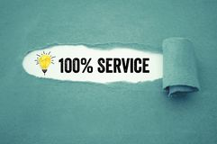 Paper work with crumpled paper light bulb with 100% service royalty free stock photo
