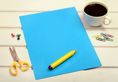 Blue paper with yellow marker Royalty Free Stock Photo